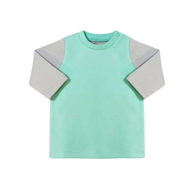 Long sleeve top in grey and mint by Darlo
