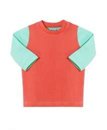Long sleeve top in coral & mint by Darlo