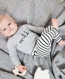 Grey 'Milk' body and breton stripe pants by Organic Zoo