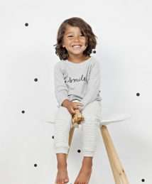 Grey 'Smile' Sweatshirt and grey stripe pants by Organic Zoo