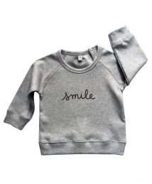Grey 'Smile' Sweatshirt by Organic Zoo (flatlay)