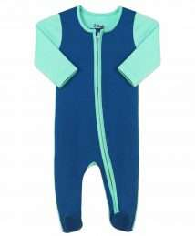 Sleepsuit with Zip in Blue & Mint by Darlo