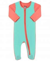 Sleepsuit with Zip in Coral & Mint by Darlo