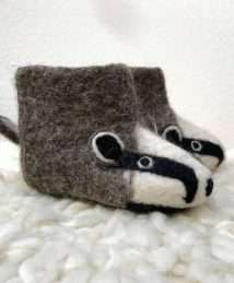 Billie Badger children's felt slippers