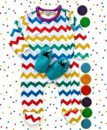 Lil Bubs chevron sleepsuit and teal mini shoes outfit