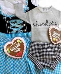 'Chocolate' body and gingham bloomers flatlay