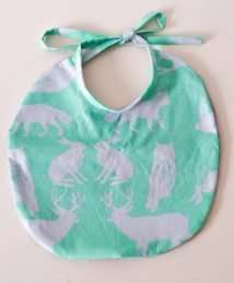 Organic Forest Animals Bib (Mint & Lavender)