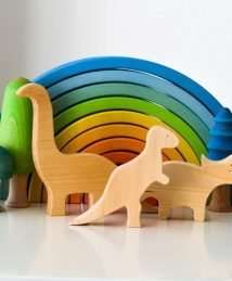 Ocamora dinosaurs, trees and rainbow