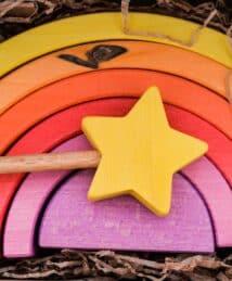 Ocamora Wooden Magic Wand (Yellow) & Yellow 6-Piece Rainbow