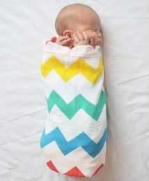 Lil' Cubs Rainbow Chevrons Swaddle Muslin