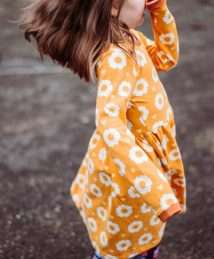 Long-Sleeve Twirly Dress 70s Flower