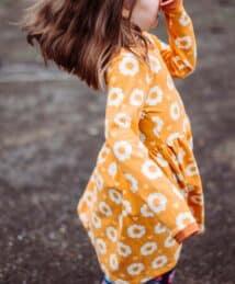 Long-Sleeve Twirly Dress 70s Flower