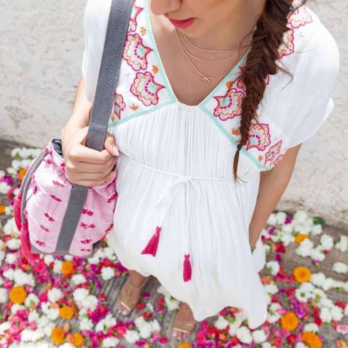 Mara Mea Bucket Nappy Bag (Flowing Sari)