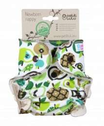 Petit Lulu Fitted Nappy Fluffy Organic (Newborn) - Green Apples