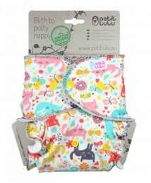 Petit Lulu Fitted Nappy Fluffy Organic (One Size) - Poppers, Cat Meadow