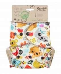Petit Lulu Fitted Nappy Fluffy Organic (One Size) - Poppers, Frisky Koalas