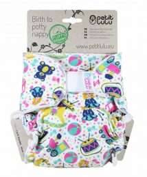 Petit Lulu Fitted Nappy Fluffy Organic (One Size) - Velcro, Toy Heaven