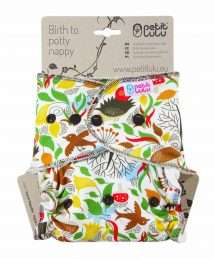 Petit Lulu Fitted Nappy (Maxi) - Snaps, Autumn Hedgies