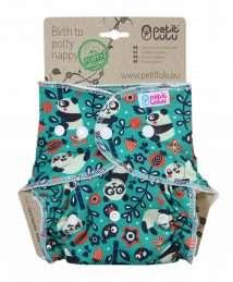 Petit Lulu Fluffy Organic Fitted Nappy (Maxi) - Snaps, Faddy Pandas