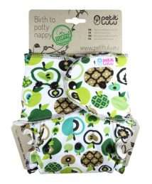 Petit Lulu Fluffy Organic Fitted Nappy (Maxi) - Snaps, Green Apples