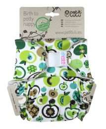 Petit Lulu Fluffy Organic Fitted Nappy (Maxi) - Velcro, Green Apples