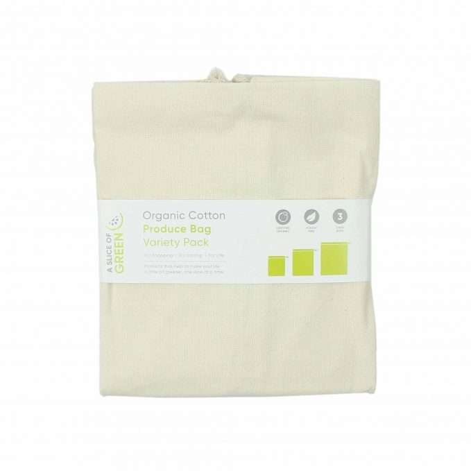 A Slice of Green Organic Cotton Produce Bags - Variety Pack (Set of 3)
