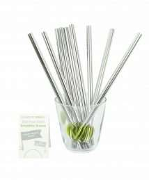 A Slice of Green Stainless Steel Smoothie Straws