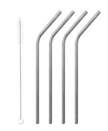 Qwetch Stainless Steel, Bent Straws (Set of 4 + Brush)