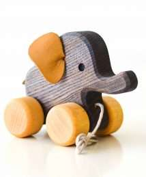 Wooden Frog Pull-Along Elephant