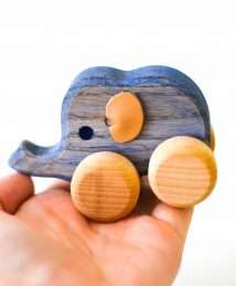 Wooden Frog Push-Along Elephant (Small)