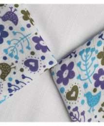 Xkko Bamboo muslin 30x30 purple flowers & birds