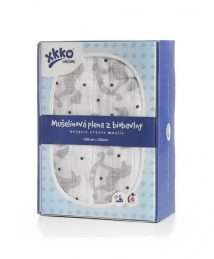 Xkko organic cotton swaddle 120x120 - rocking horses silver