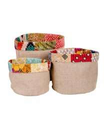Gepa basket Jute Sari upcycling - size comparison