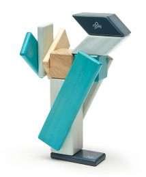 Tegu Magnetic Wooden Blocks (Classics - Blue, 14 pieces)