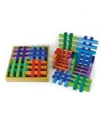 BS-00162 Bauspiel Grid Blocks multi-coloured
