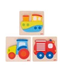Goki Puzzle set tractor, boat, firetruck