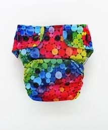 Little Birds One Size AiO cloth nappy - Rainbow Bubbles