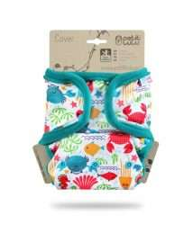 Petit Lulu Prefold Cover One Size - Snaps Lagoon (Turquoise hem)
