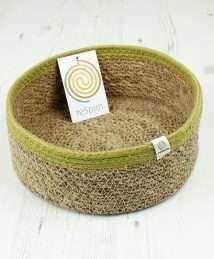 Respiin Shallow Seagrass & Jute Basket Medium - Natural Green (1)